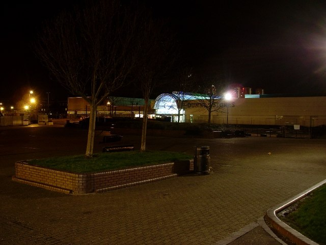 Night view of Clydebank centre