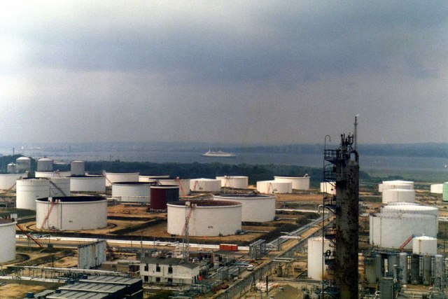 Queen Elizabeth 2 from inside Fawley oil refinery