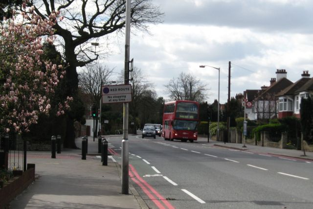 Addiscombe Road, junction of Upland, facing west