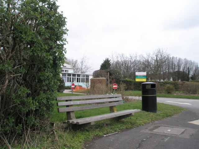 Bench by entrance to Warblington School