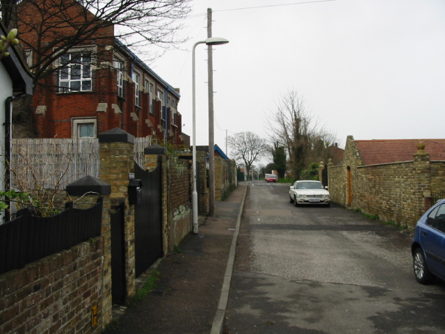 St Peter's Footpath where it becomes a small road