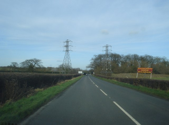 Power lines cross the B4208