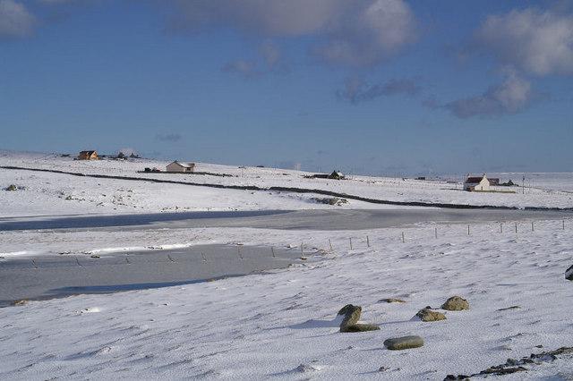 Dam Loch, Uyeasound, in snow