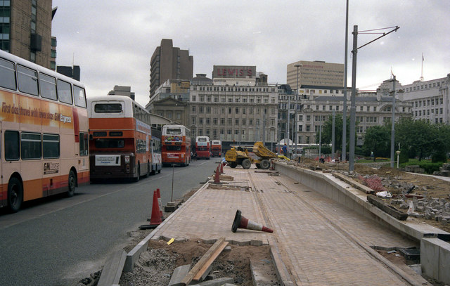 Construction of Piccadilly Gardens tram station