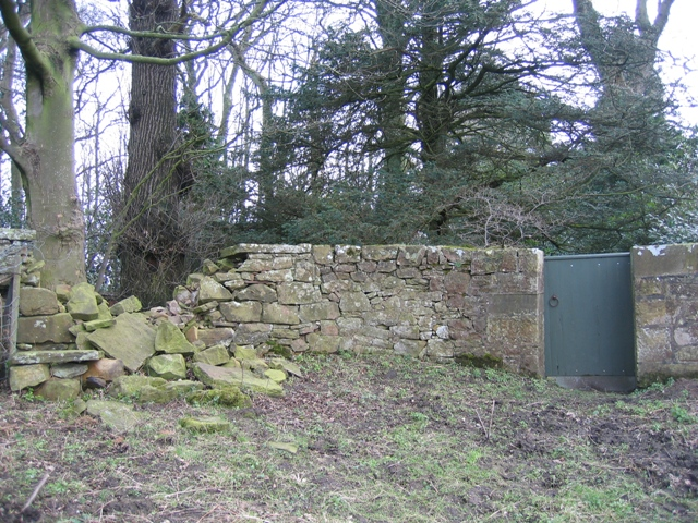 Collapsed wall and gate into Ram Wood