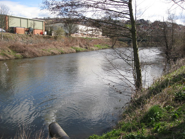 River Derwent View showing Overflow Pipe from Sewage Works