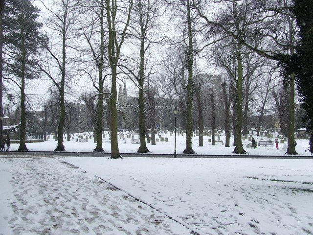 The Great Churchyard in the snow