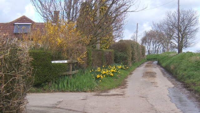 Fossetts Lane passing Hill Cottage, looking north