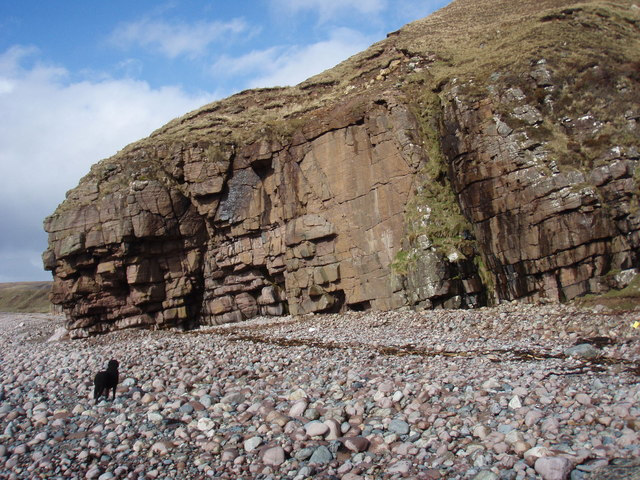 Cliff by the pebbly beach