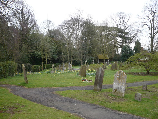 Part of the churchyard at Milstead, looking towards the road