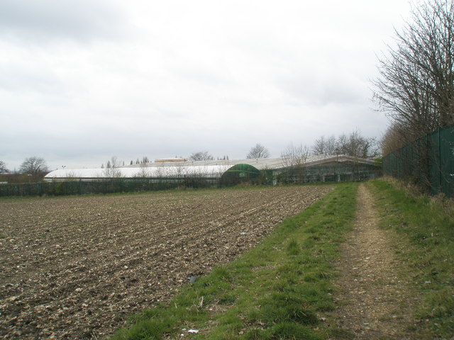 Rear of Wyevale Garden Centre as seen from East Leigh Farm