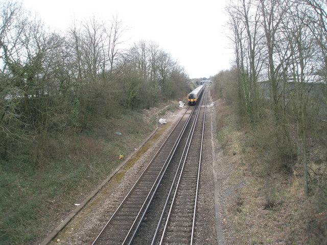 Train advancing towards Havant