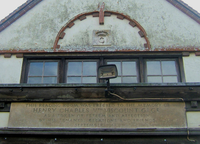 Sign on the Reading Room, The Street, West Firle, East Sussex
