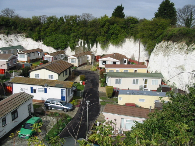 Mobile homes in a chalk pit