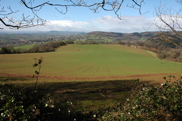 An arable field and the Welsh borderlands