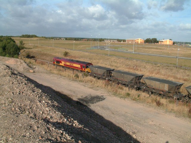A Coal train passes the site of Ollerton coalite