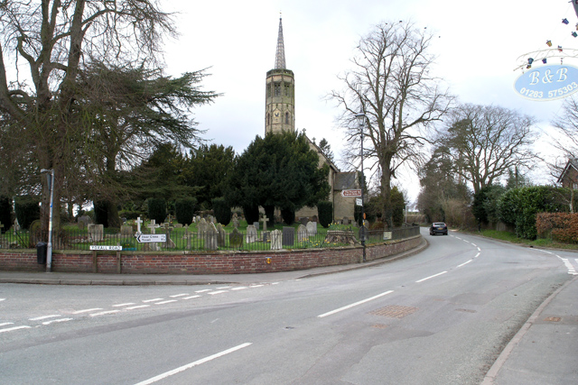 Newborough Church and churchyard
