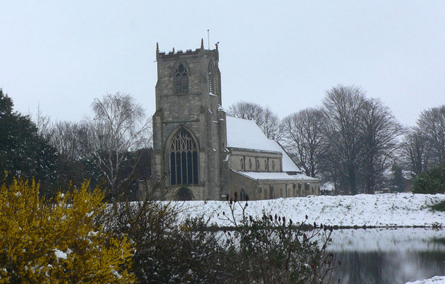 St Nicholas Church,  Boston,  in the snow