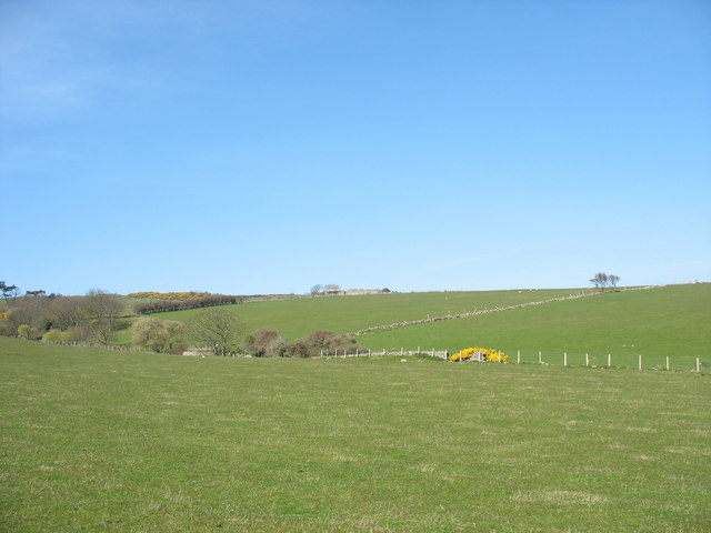 View across the fields towards the Rhos-mynach ridge