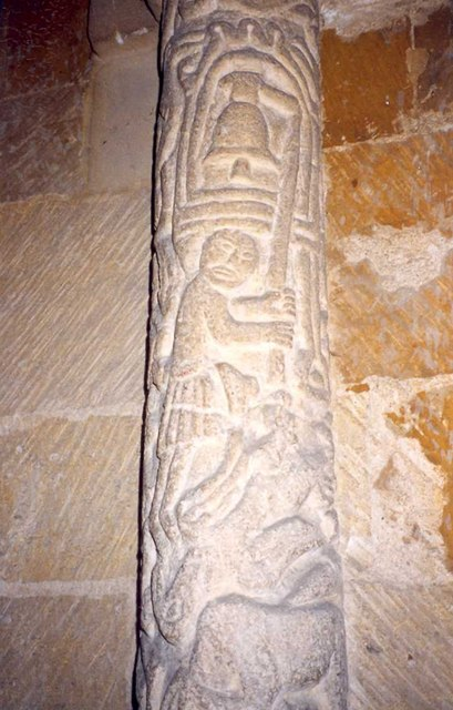 Carving on shaft to chancel arch, St Andrew's Church, Stoke Dry