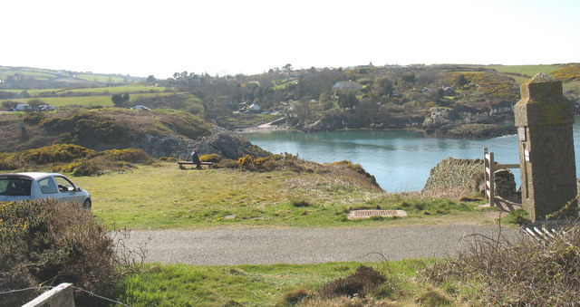 Porth Eilian cove from the entrance to the Point Lynas lighthouse road