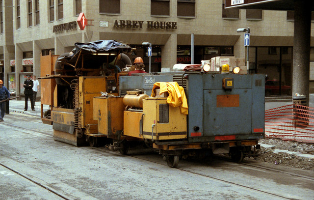 Railgrinder in Mosley Street