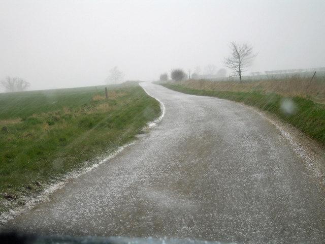 Hailstorm on Middlegate near Elsham Hill