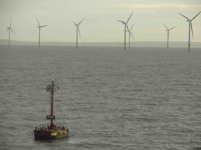 Formby marker buoy and windfarm off N.Wales coast