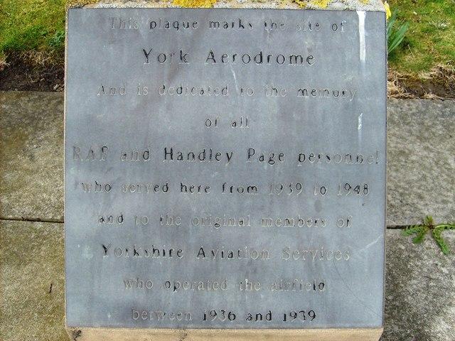 York Aerodrome Plaque