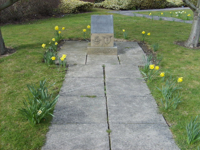 York Aerodrome Plaque with daffodils