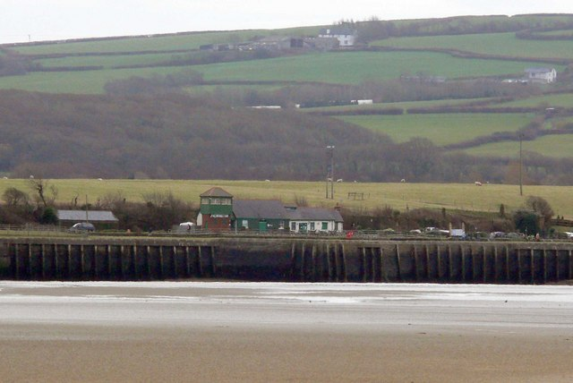 Fremington Station as seen across the estuary.