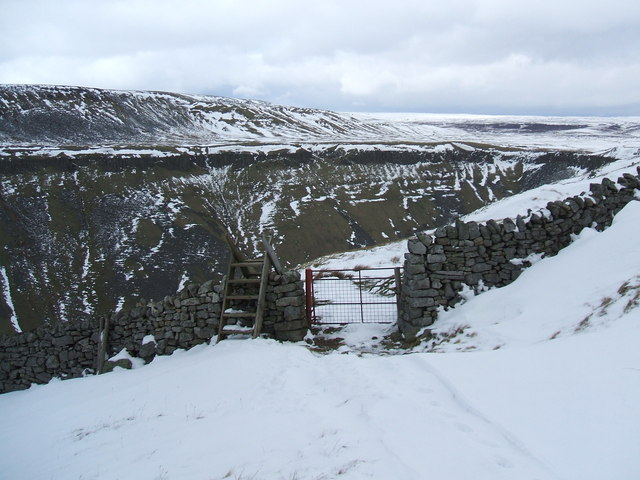 Ladder and gate above High Cup Gill