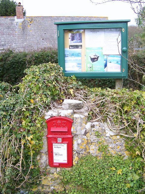 Postbox and village notice board, Chicksgrove