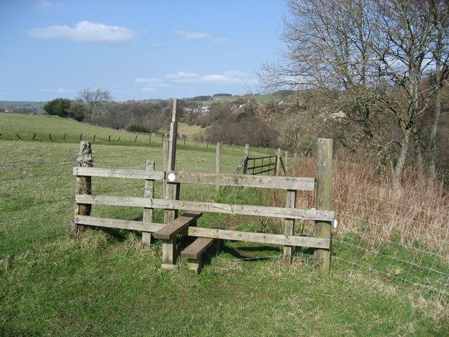 Stile on the footpath above the River East Allen