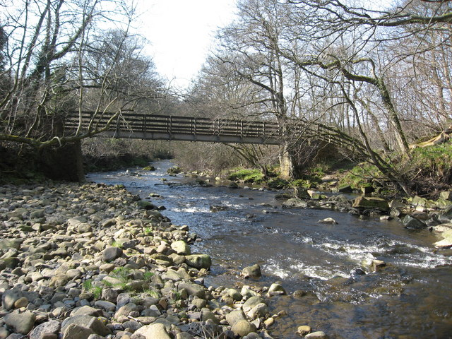 Footbridge over the River East Allen south of Peckriding