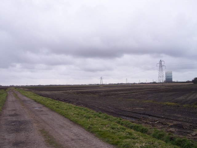 Farm Track  Ditch and Pylons