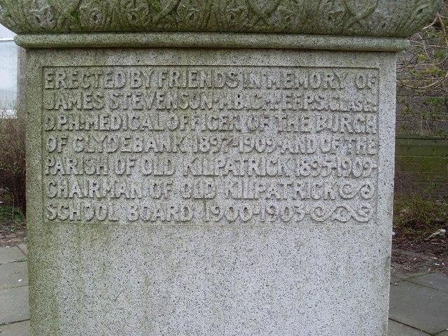 Inscription on Stevenson memorial