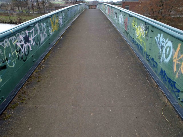 Steel arch bridge over the River Calder