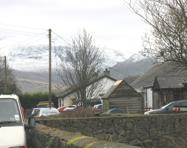Craig y Dinas with a snowy Snowdon in the background on Easter Day.