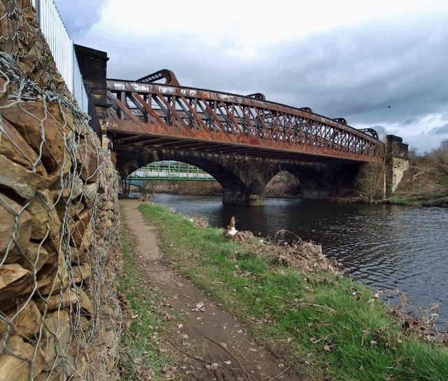 The railway bridge over the River Calder needs a coat of paint