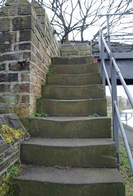 Well worn steps on bridge to nowhere