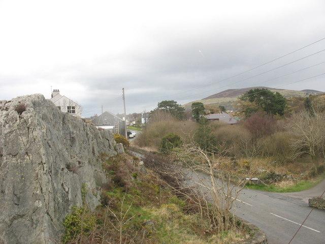 Craig Bryn Parc Crag and the village of Brynrefail