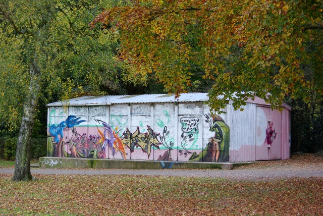 A much graffitied shed in War Memorial Park