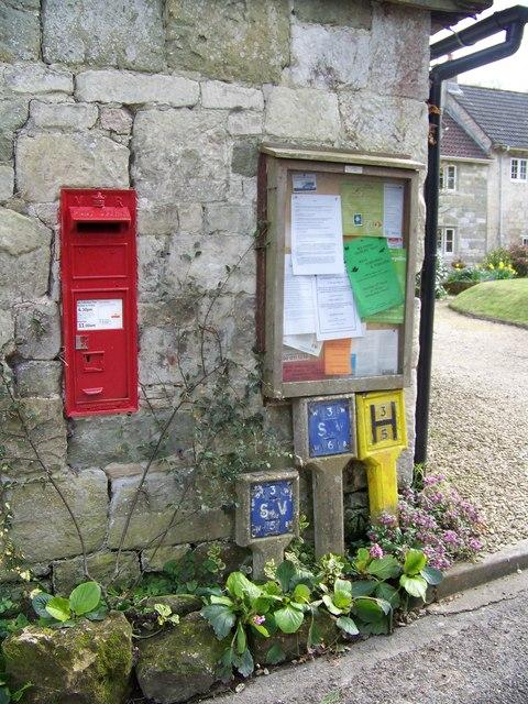 Postbox and village notice board, Sutton Mandeville