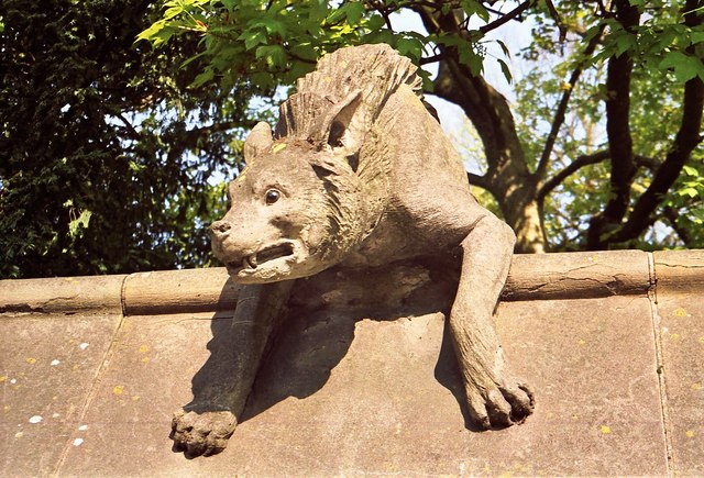 Gargoyle on the castle wall.  Scary or what?