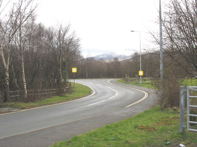 Exit from the main village street of Cwm-y-glo to the A4086 bypass