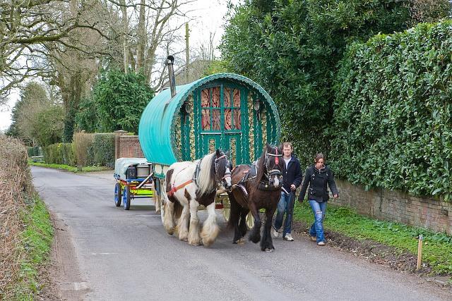 Gypsy caravan in Sherfield English Lane, Plaitford Green
