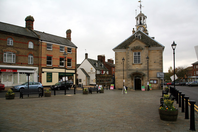 Brackley, Northants: market place and town hall