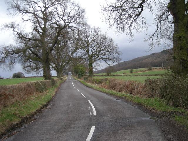 Quiet road alongside The Wrekin