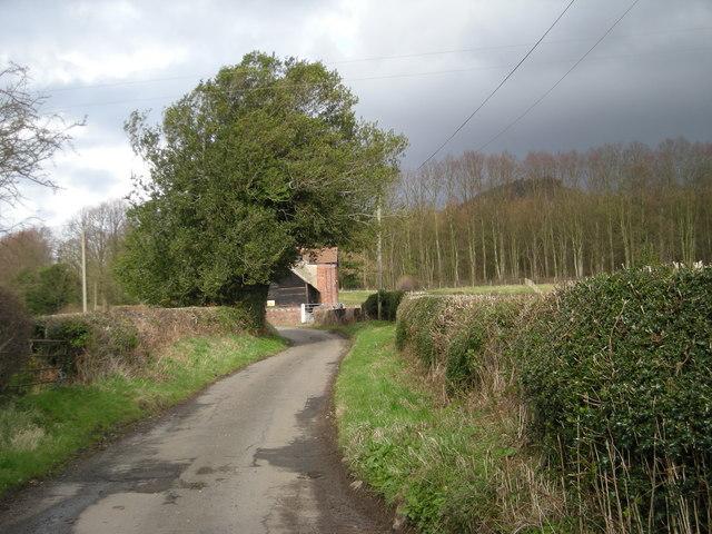 Lane past Rushton Cottage